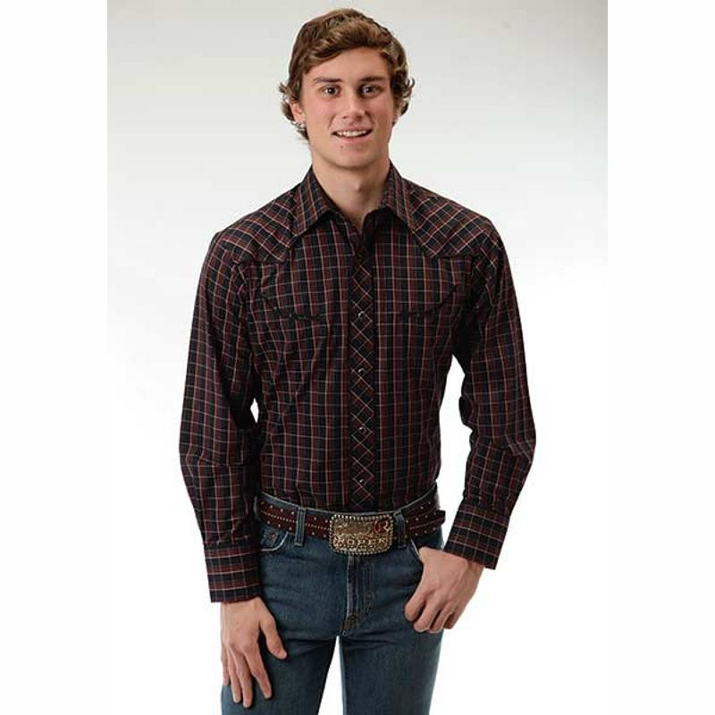Men 39 s roper black and brown plaid shirt for Brown and black plaid shirt