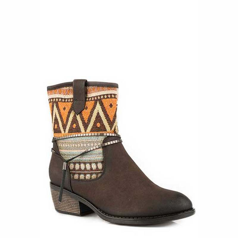Ladies Roper Fashion Faux Leather Short Boot