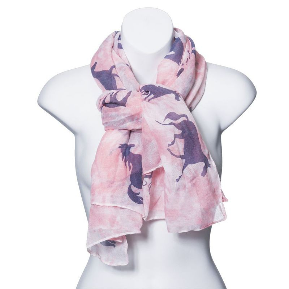 Ladies Pink Champagne Horse Print Scarf
