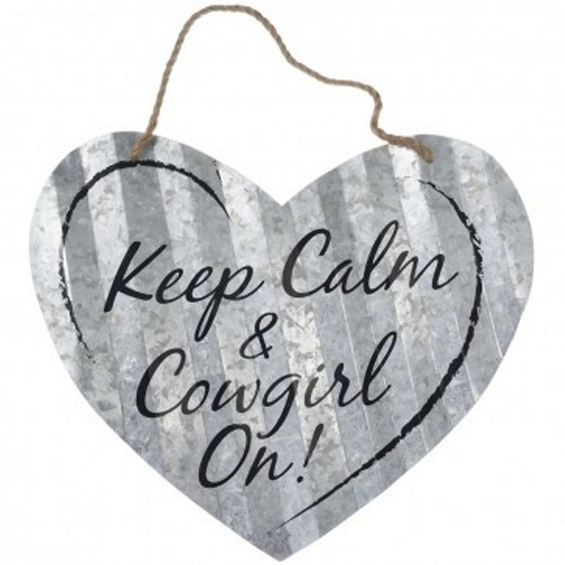 Keep Calm Cowgirl Heart Sign- 20""