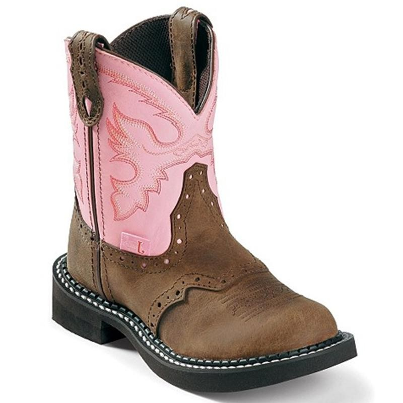 justin pink and brown boots
