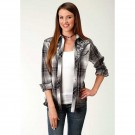 Ladies Roper Black and White Plaid Shirt with Yokes