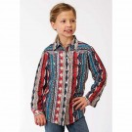 Girls Roper Aztec Stripe Print Western Shirt