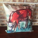 Calf Grazing Pillow Cover