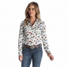 Ladies Wrangler Butterfly Print Western Shirt LW1301M
