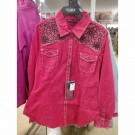 Ladies Red Rock and Roll Print Shirt