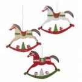 CanPro Wooden Rocking Horse Ornament Set