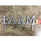 """Farm"" 4 Hook Metal Sign"