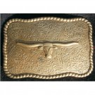 Steer Head Antique Gold Finish Belt Buckle