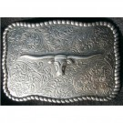 Steer Head Antique Silver Finish Belt Buckle