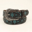 M&F Ladies Turquoise Floral Tooled Belt