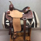Billy Cook Barrel Saddle with Waffle Sheridan Tooling 14""
