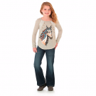 Wrangler Girl's Long Sleeve Horse Graphic Tee with Lace Insets #GWK871N
