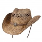 Organic Raffia Hat with Concho -Large/XL