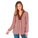 Wrangler Women's Long Sleeve Boho Top with Faux Suede #LW8026M